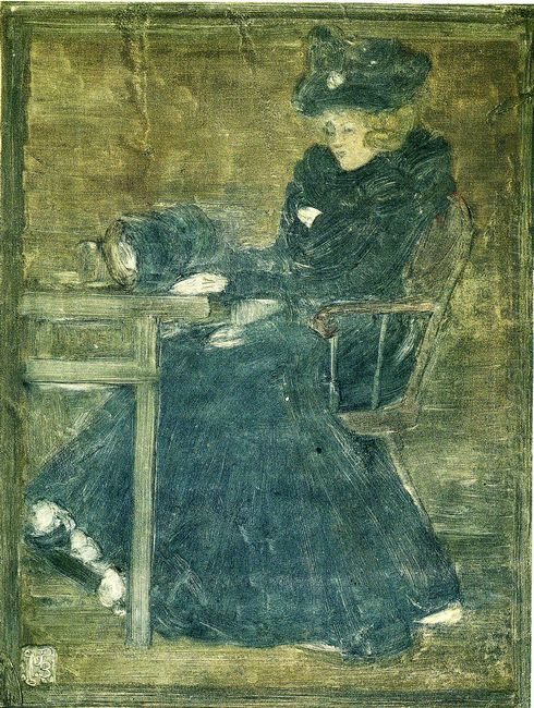 Seated Woman In Blue Also Known As At The Cafe
