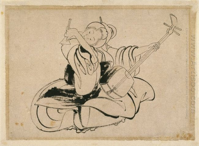 Seated Woman With Shamisen