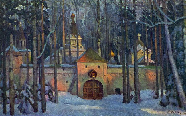 Set Design For Glinka S Opera Ivan Susanin Monastery In The Fore