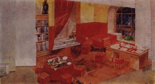 Set Design For Staging Diary Of Satan By L Andreev 1922