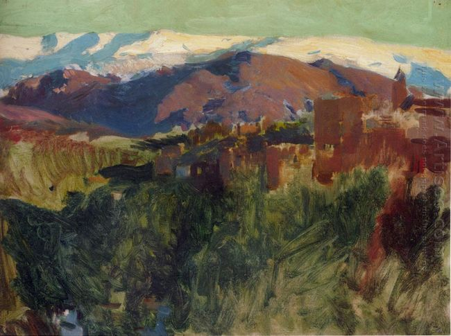 Sierra Nevada From The Alhambra Grenada 1910