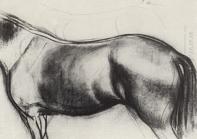 Sketch For The Painting Bathing The Red Horse 1912