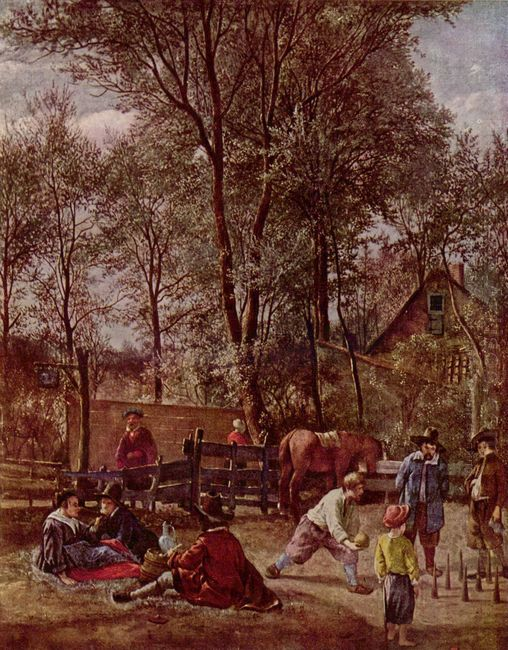Skittle Players Outside An Inn 1663