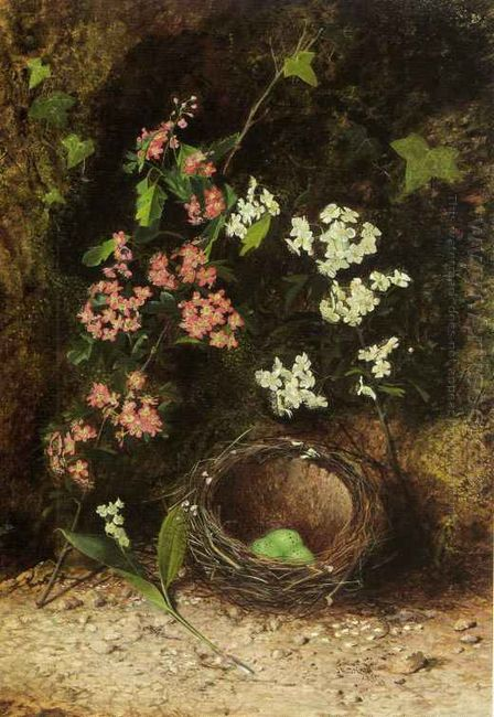 Still Life Of Birds Nest With Primulas And Blossom 1869
