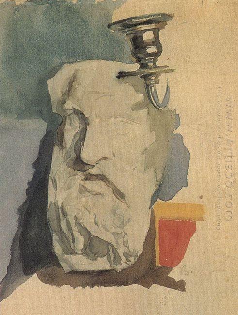 Still Life Plaster Mask Horn Of Chandelier 1885