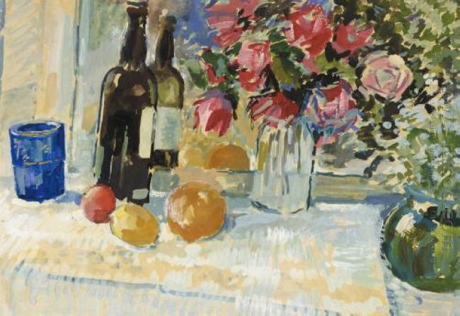 Still Life With A Bottle Of Vine