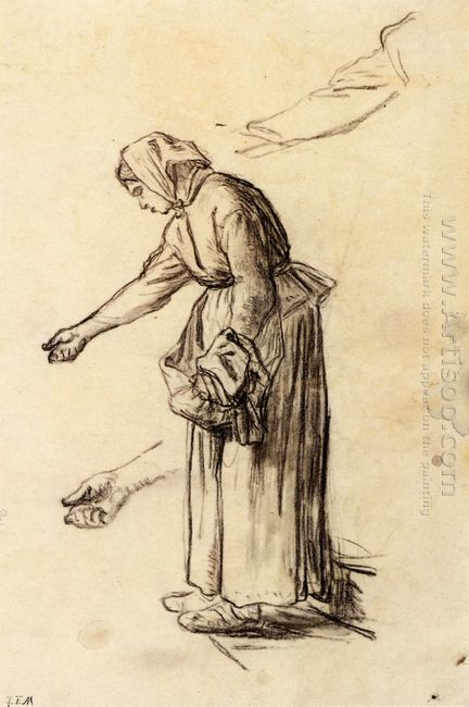 Study For A Woman Feeding Chickens 1859