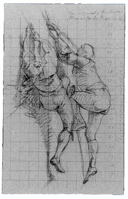 Study For The Siege Of Gibraltar Figures Scaling Floating Batter