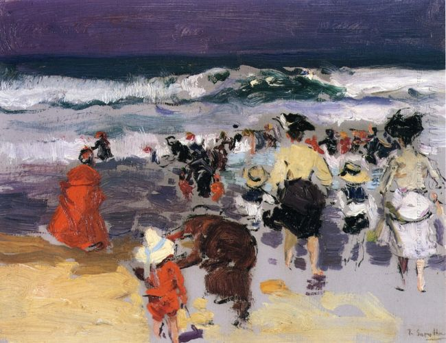 The Beach At Biarritz Sketch