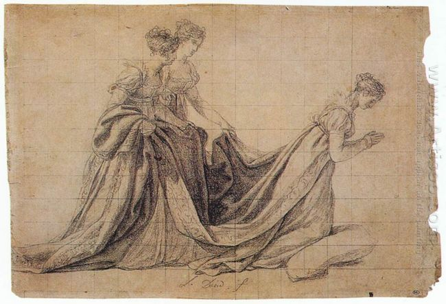 The Empress Josephine Kneeling With Mme De La Rochefoucauld And