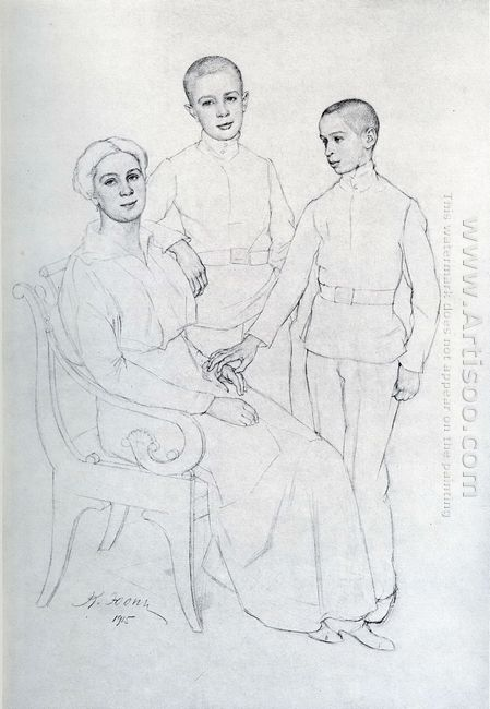 The Family Portrait Klavdiya Yuon Artist S Wife And Sons Boris A