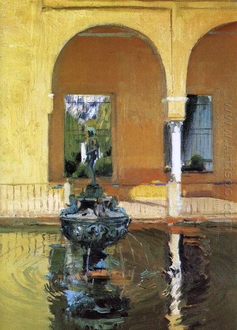 The Fountain In The Alcázof Seville 1908