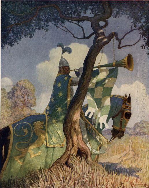 The Green Knight Preparing To Battle Sir Beaumains