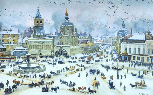 The Lubyanskaya Square In Winter 1905