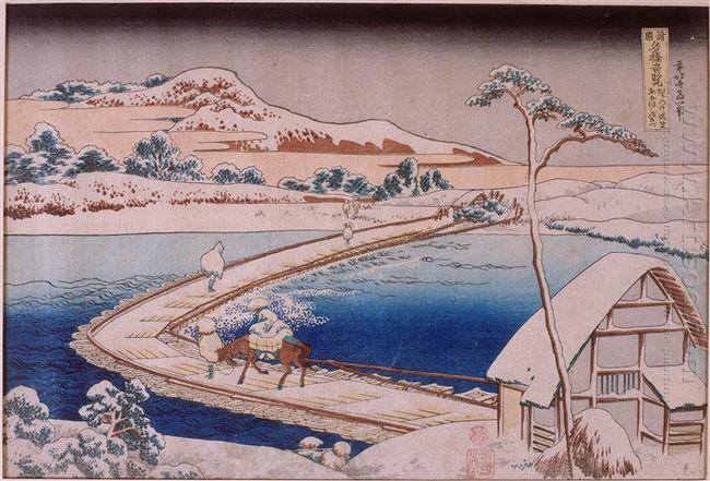 The Pontoon Bridge At Sano In The Province Of Kozuka
