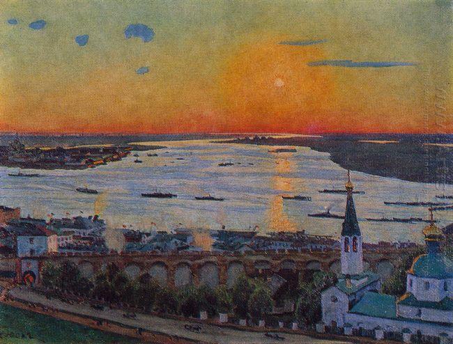 The Sunset On Volga Nizhny Novgorod 1911