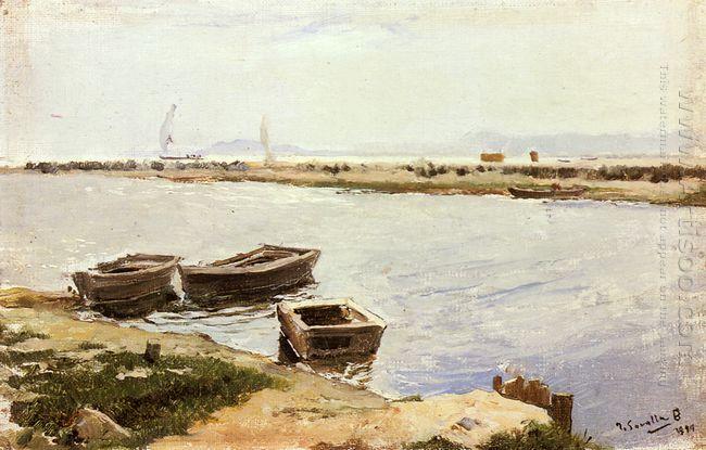 Three Boats By A Shore 1899