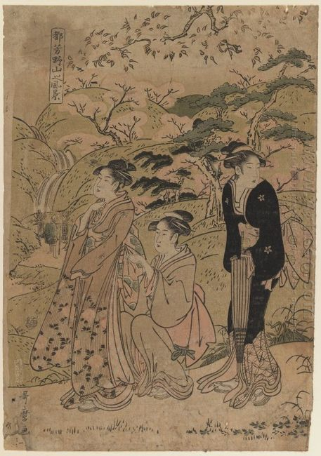 Three Courtesans Stroll Amidst Cherry Blossoms 1803