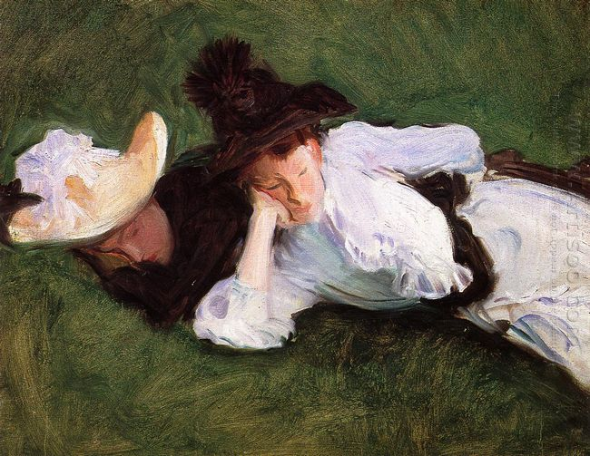 Two Girls Lying On The Grass 1889