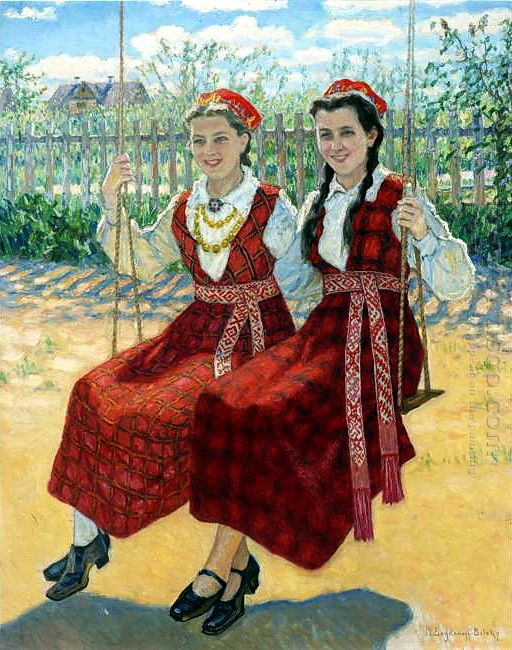 Two Girls On A Swing