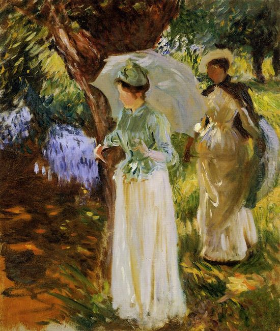 Two Girls With Parasols At Fladbury 1889