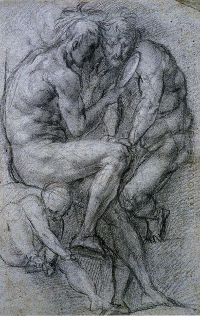Two Male Figures Looking In A Mirror And A Putto