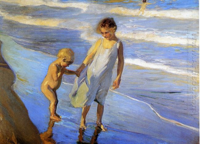 Valencia Two Little Girls On A Beach 1904