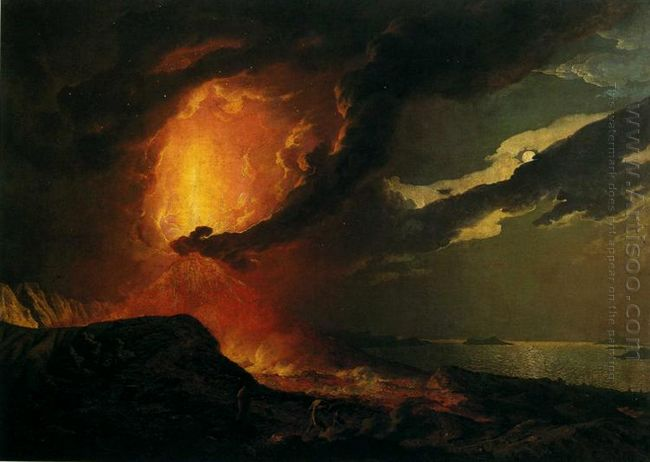 Vesuvius In Eruption With A View Over The Islands In The Bay Of
