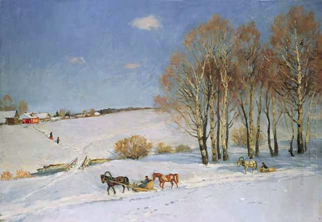Winter Landscape With Horse Drawn Sleigh 1915