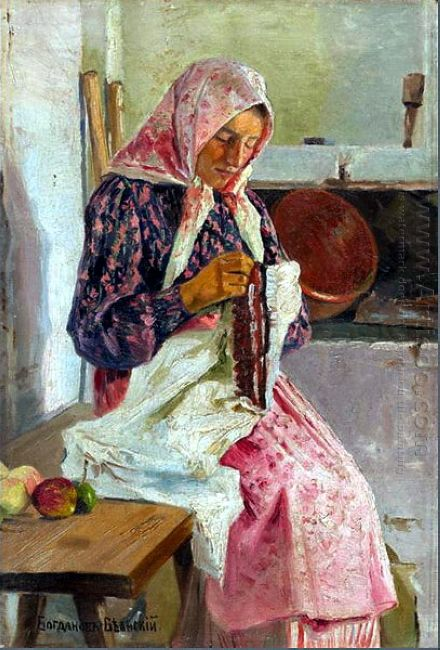 Woman Stitching The Shawl