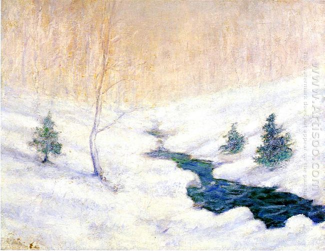 Woodland Stream In A Winter Landscape