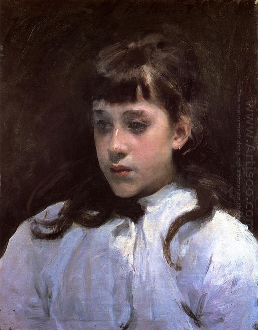 Young Girl Wearing A White Muslin Blouse 1885