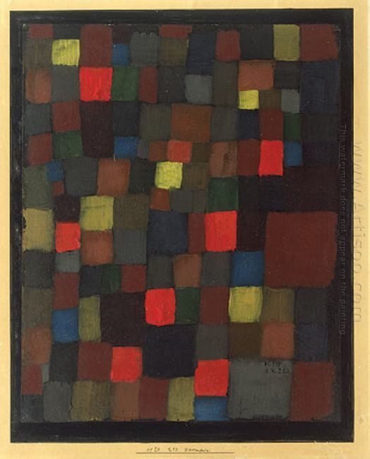 Abstract Colour Harmony In Squares With Vermillion Accents 1924