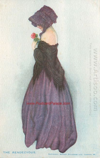A Girl Holding A Rose 1916