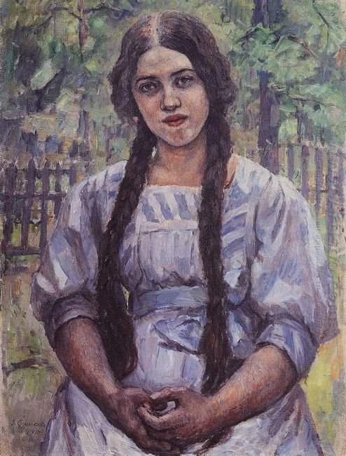 A Girl With Braids Portrait Of A A Dobrinskaya 1910