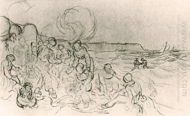 A Group Of Figures On The Beach