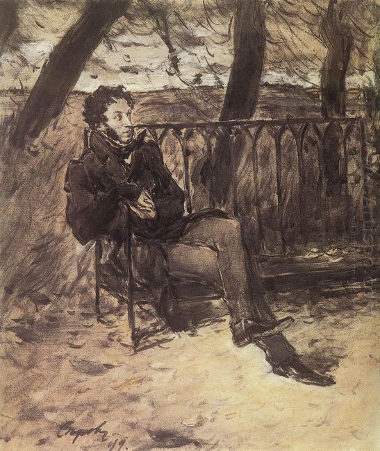 Alexander Pushkin In A Park 1899