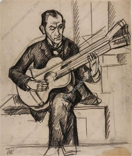 A Man With A Guitar 1913
