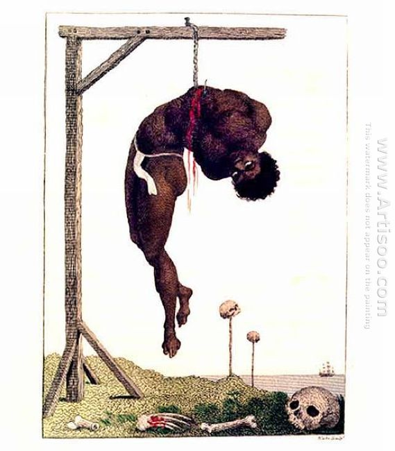 Un negro Hung Alive By The Ribs To A Gallows 1796
