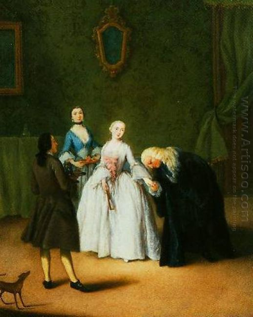 A Nobleman Kissing Lady S Hand 1746