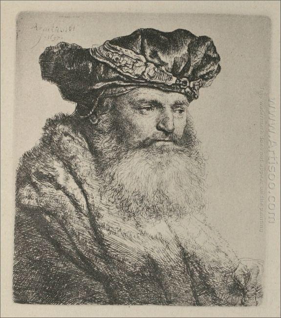 An Old Man Wearing A Rich Velvet Cap 1637