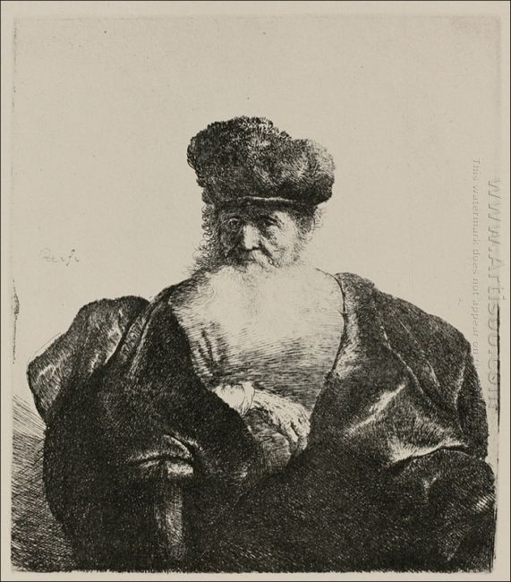 An Old Man With A Beard Fur Cap And A Velvet Cloak 1632
