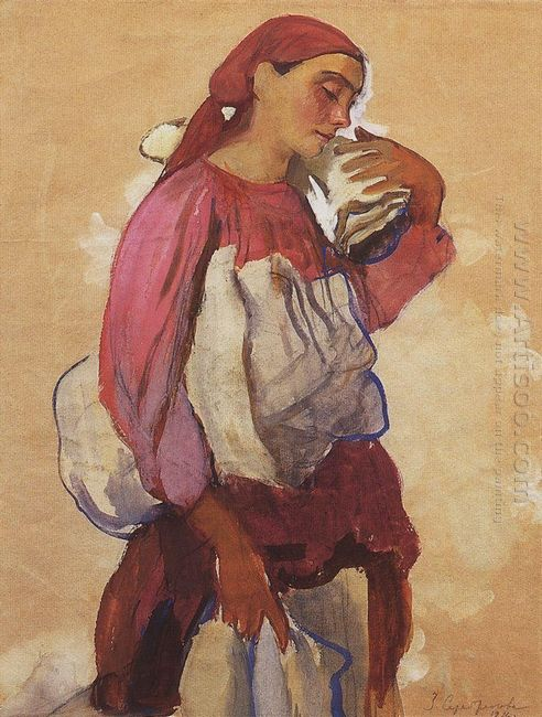 A Peasant Woman With Rolls Of Canvas On Her Shoulder And In Her