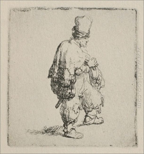 A Polander Walking Towards The Right 1635