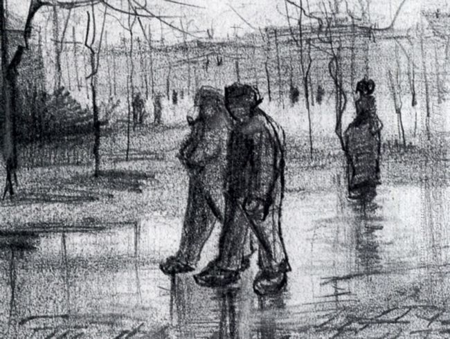 A Public Garden With People Walking In The Rain 1886