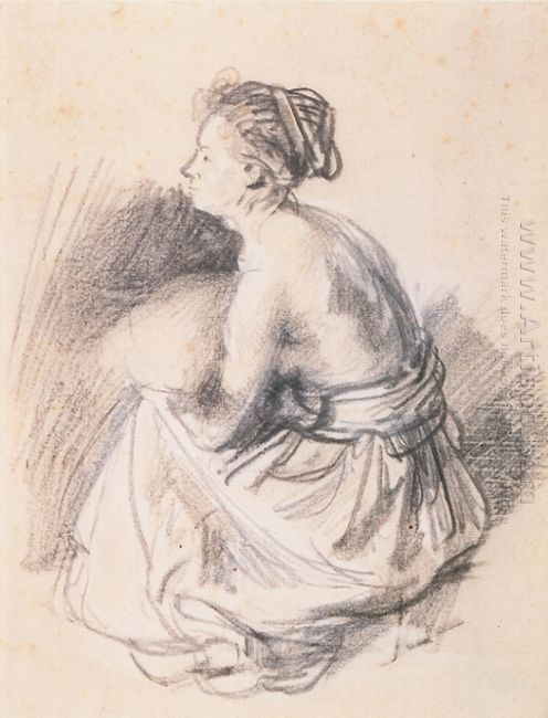 A Seated Woman Naked To The Waste