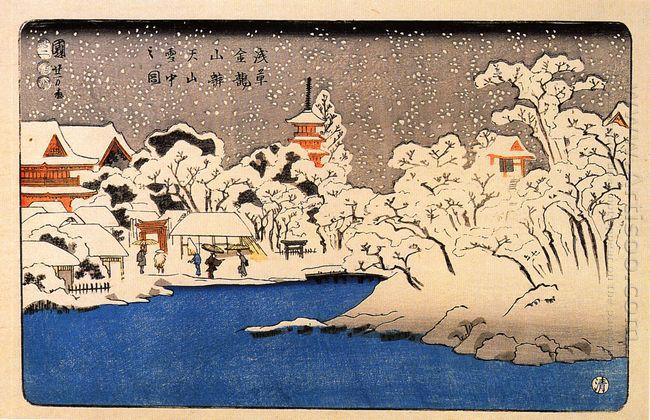 A Snowstorm At Kinryozan Temple