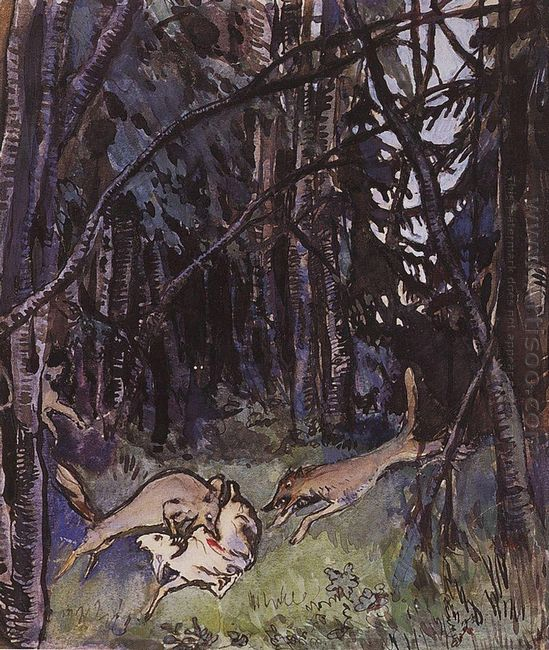 Attacked A Goat Gray Wolves 1901