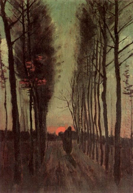 Avenue Of Poplars At Sunset 1884