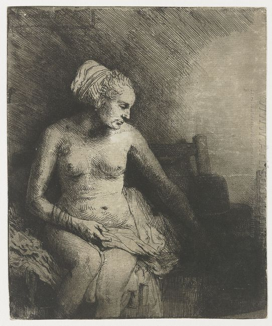 A Woman At The Bath With A Hat Beside Her 1658
